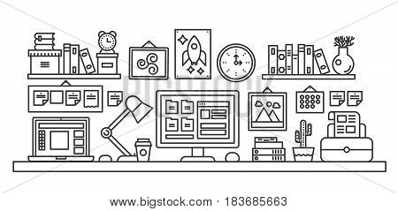 Vector illustration of black line single colored office table with computer. Outline style