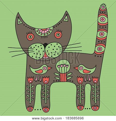 Decorative ethnic grey cat on a light green background. Vector illustration