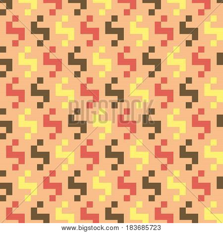 Abstract modern seamless stitching pattern in desaturated colors. Pixel art. Vector illustration