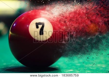 Red Billiard Ball Splits Into Particles And Debris