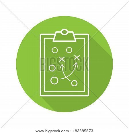 Clipboard game plan. Flat linear long shadow icon. Sport game strategy scheme. Vector line symbol
