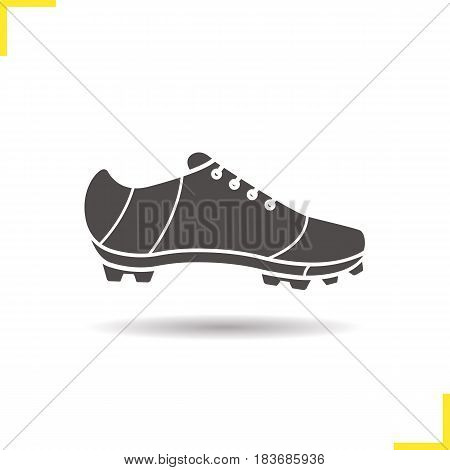 Cleat glyph icon. Drop shadow silhouette symbol. American football, rugby, soccer, baseball player's shoe. Negative space. Vector isolated illustration