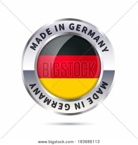 Glossy metal badge icon, made in Germany with flag