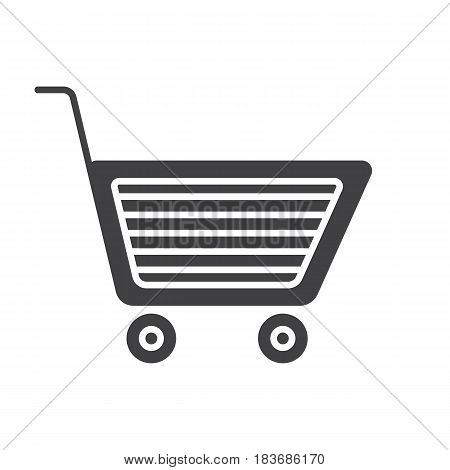 Shopping cart glyph icon. Silhouette symbol. Add to cart sign. Negative space. Vector isolated illustration