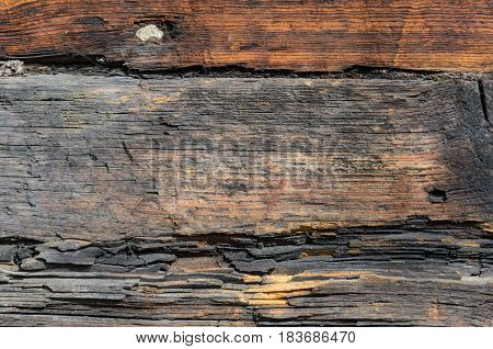 Rustic Log Wall Horizontal Grey Gray Background. Fragment Of Unpainted Brown Wooden Debarked Logs Barn Wall