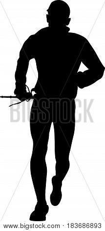 man skyrunner with trekking pole race skyrunning black silhouette