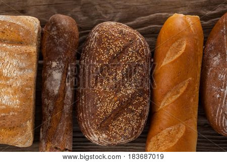 Close-up of various bread loaves on wooden background