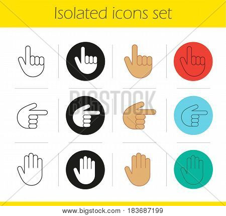 Hand gestures icons set. Linear, black and color styles. Palm, up and right direction. Isolated vector illustrations