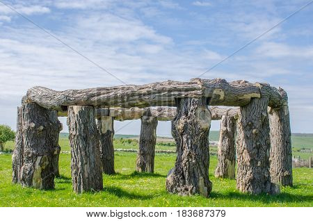 Wooden circle in ancient style on field