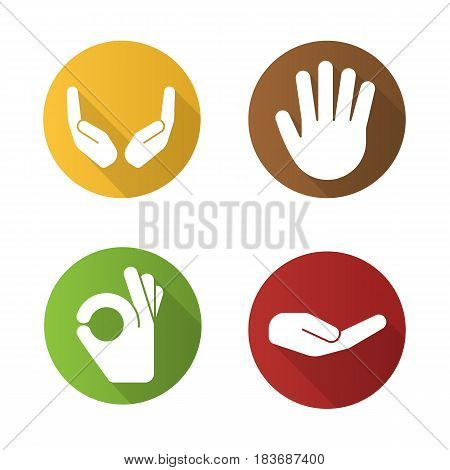 Hand gestures flat design long shadow icons set. Begging and cupped hands, palm, ok gesture. Vector silhouette illustration