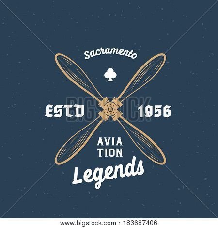 Aviation Legends Airplane Vector Retro Label, Sign or Logo Template. Vintage Wooden Airscrew with Typography and Shabby Texture. On Blue Background.