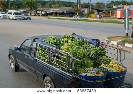 April 2 2017. A pickup truck loaded with bananas and papayas drives to a local market. Rayong province Thailand. Travel and agriculture concept.