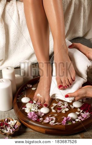 Female Feet In Spa Salon, Closeup