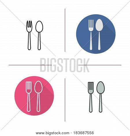 Eatery icon. Flat design, linear and color styles. Fork and spoon. Isolated vector illustrations