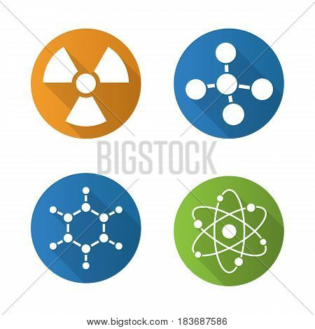 Chemistry and physics. Flat design long shadow icons set. Atom, molecule and radioactive caution symbols. Radiation sign. Vector silhouette illustration