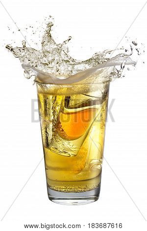 A Shot Glass Filled With Alcohol, Placed Inside A Glass With Beer. Splash