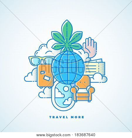 Travel More Line Style Vector Vacation Illustration with Halftone Texture. Isolated.
