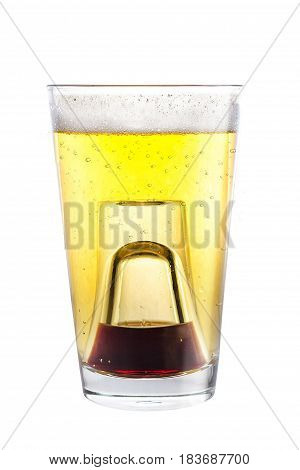 A Shot Glass Filled With Alcohol, Placed Inside A Glass With Beer