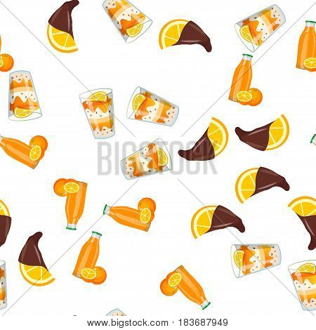 Very high quality original trendy vector seamless pattern with orange ice cream