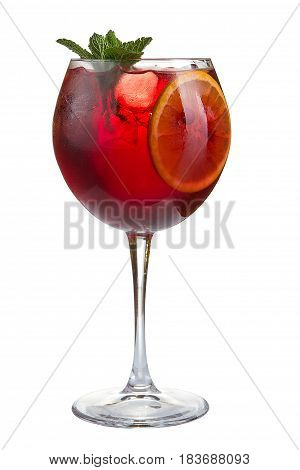 Refreshing Cocktail With Ice Fruit Juice And Cranberries On A White Background