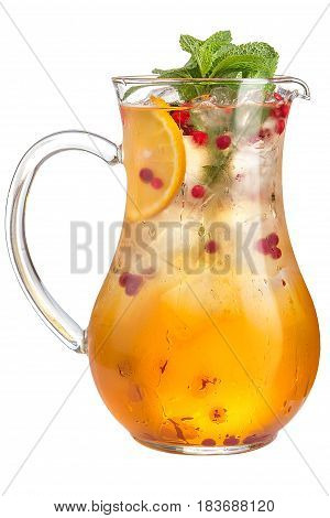 Refreshing Fruit Water In A Decanter On A White Background