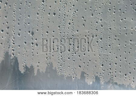 Water drops on greenhouse film surface. Greenhouse for cultivated plants