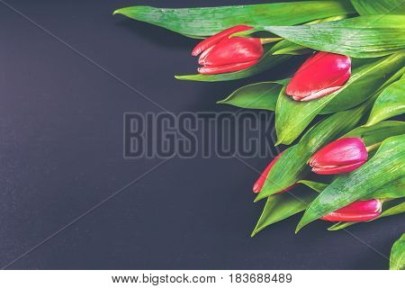 Bouquet Of Pink Tulips On Grey Wooden Background. Top View, Copy Space. Happy Mother's Day.