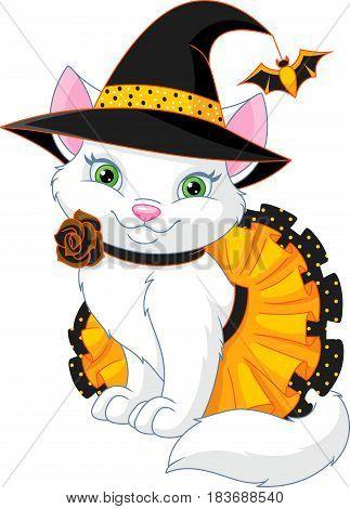 Cute cat in a witch costume, EPS 8