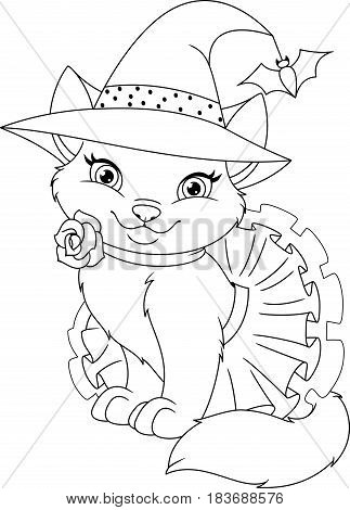 Cute cat in a witch costume, coloring page
