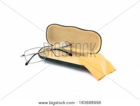 Reading Glasses With Case And Flannel Cloth On White Background