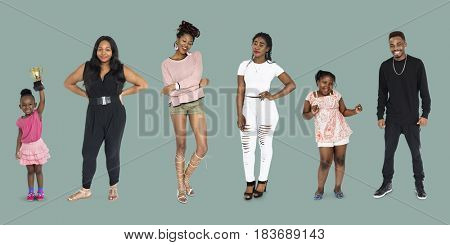 Group of African Descent People Together Set Studio Isolated