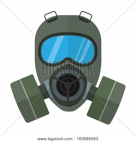 Flat style vector respirator chemical gas mask illustration isolated on white.