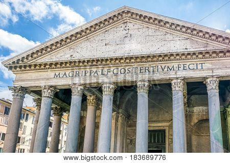 facade of the magnificent Pantheon in rome