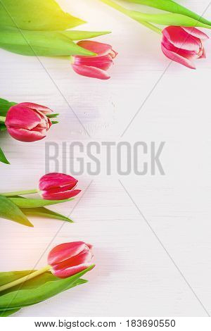 Bouquet Of Pink Tulips On White Wooden Background. Top View, Copy Space. Happy Mother's Day.