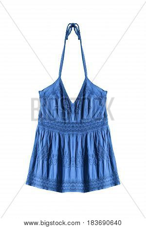 Blue embroidered ethnic halter top isolated over white