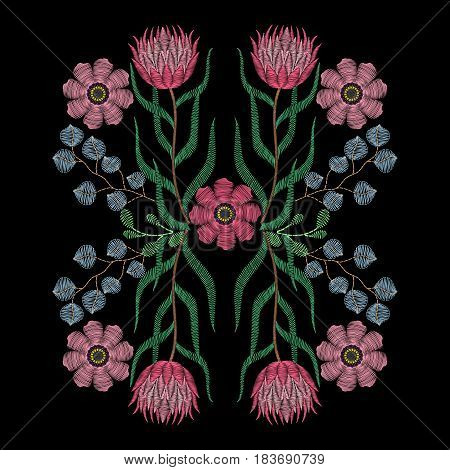 Embroidery stitches with African rose, succulents, protea, summer flowers. Vector fashion ornament on black background for textile, fabric traditional folk decoration.