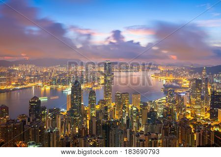 Sunset over Victoria Harbor as viewed atop Victoria PeakHong Kong