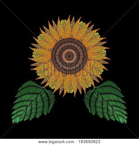Embroidery patch with sunflower. Vector fashion embroidered floral ornament on black background, fancywork pattern for textile, fabric traditional folk decoration.