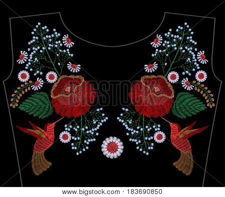 Embroidery rose with hummingbird, spring flowers, chamomile for neckline. Vector fashion embroidered floral ornament, fancywork pattern for textile, fabric traditional folk decoration.