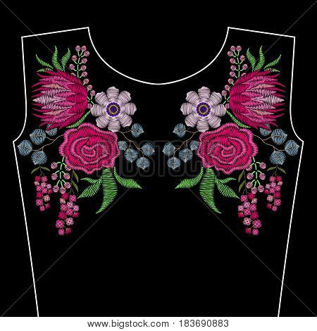Embroidery fashion neckline with spring flowers. Vector floral ornament on black background for textile, fabric traditional folk decor.