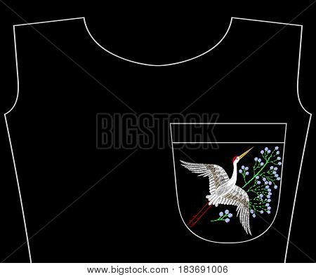 Embroidery flying textile crane bird with summer wildflowers for t-shirt pocket, neckline. Vector asian fashion embroidered floral ornament, fancywork pattern for fabric traditional folk decoration.