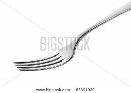 Empty Steel Fork isolated on white background
