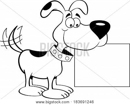 Black and white illustration of a happy dog holding a sign.