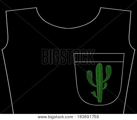 Embroidery cactus plant for t-shirt pocket, neckline. Vector fashion embroidered succulent flower ornament, fancywork pattern for textile, fabric traditional folk decoration. Summer wildflower.