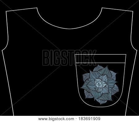 Embroidery cactus plant, succulent for t-shirt pocket, neckline. Vector fashion embroidered flower ornament, fancywork pattern for textile, fabric traditional folk decoration.