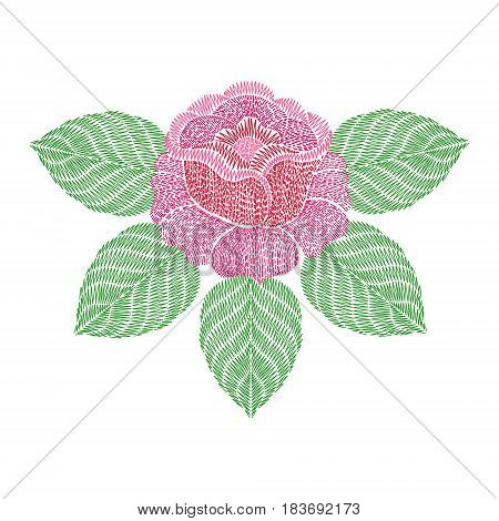Embroidery patch with rose flower. Vector fashion embroidered ornament, fancywork pattern for textile, fabric traditional folk decoration.