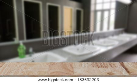 Commercial Bathroom For Washing Hands. Washbasins Public Toilets With Wood Table For Montage Or Disp