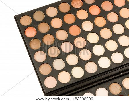 Professional makeup palette isolated on white background