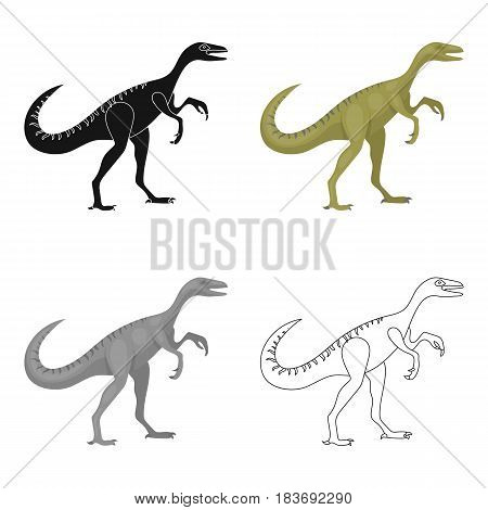 Dinosaur Gallimimus icon in cartoon design isolated on white background. Dinosaurs and prehistoric symbol stock vector illustration