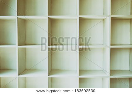 Empty White Bookshelf, Wall Cabinet With Wood Floor